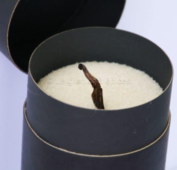 Sucre blond vanillé dans sa boîte