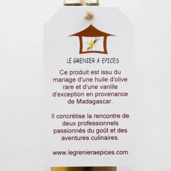 Étiquette de présentation huile d'olive à la vanille Recto