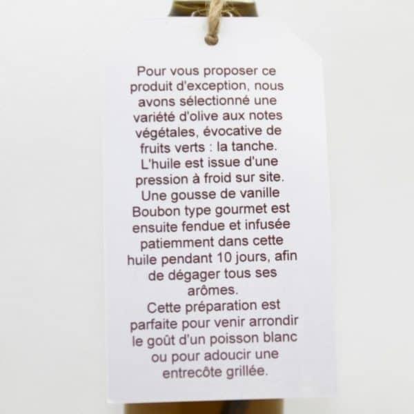 Étiquette de présentation huile d'olive à la vanille Verso